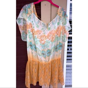 FREE PEOPLE | Print Sheer Cover Up Tunic Top M